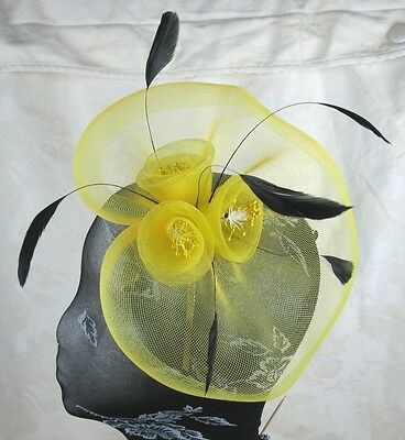 YELLOW feather headband fascinator millinery wedding ascot hat hair piece 3