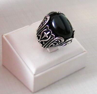 HERREN RING 925 Sterling Silber Schwarz Onyx Stein Türkische
