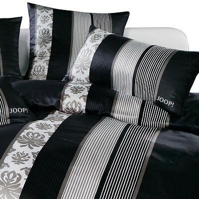 Joop Mako Satin Bettwäsche Ornament Stripes 40229 Schwarz 155x220 Cm
