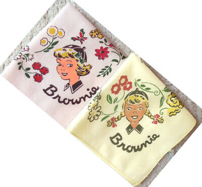RARE 1940s PINK SILK Rayon Girl Scout FIGURAL PIN Needlepoint REDUCED PRICE