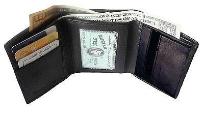 Rfid Blocking Mens Leather Trifold Wallet Id Credit Card Zip Coin Holder 3