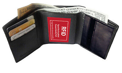 Rfid Blocking Mens Leather Trifold Wallet Id Credit Card Zip Coin Holder 7