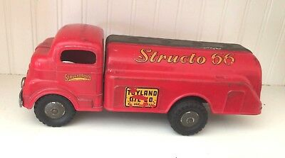 Vintage Pressed Steel Toys -Structo 66- Truck Toyland Oil/ Gas 1950'S Red 3