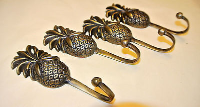 4 small PINEAPPLE BRASS HOOK COAT WALL MOUNTED HANG 100% VINTAGE style hook B 3