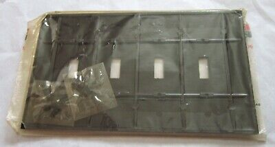 Brown Ribbed Sierra 4 Gang Toggle Switch Wall Plate NEW OLD STOCK 2