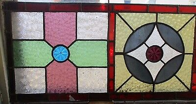"Reclaimed Coloured leaded stained glass panels 44"" x 14 1/2"" 5"