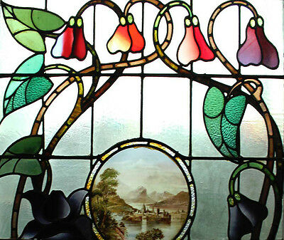 Rare Art Nouveau Antique English Stained Glass Window Stunning Painted Center 2