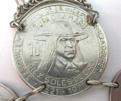 7 Of 8 Unique Old Peruvian Coins On Woven Leather Necklace With Metal Fringe