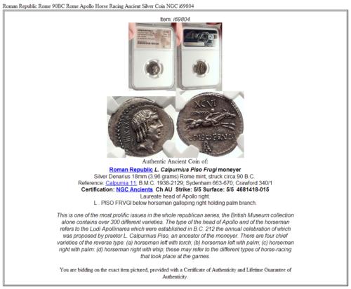 Roman Republic Rome 90BC Rome Apollo Horse Racing Ancient Silver Coin NGC i69804 5