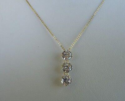 14K YELLOW GOLD LADIES 3 DROP CHAIN NECKLACE PENDANT W/ 3 ct DIAMOND 3
