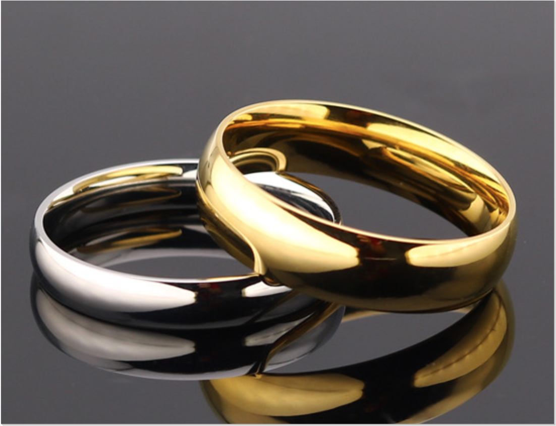 14K Gold Plated 4mm 6mm Polished Stainless Steel Wedding Band Ring Mens & Womens 6