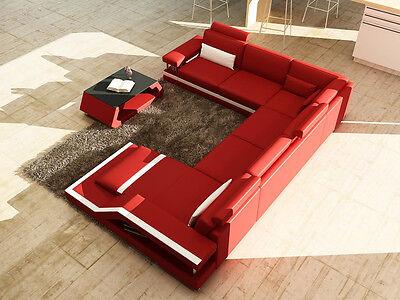 Ecksofa Sofa Couch Wohnlandschaft Polster Leder U Form Sitz Garnitur