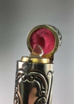 Antique Victorian 1886 Sterling Silver Repousse Hinged Perfume Scent Bottle M121 11