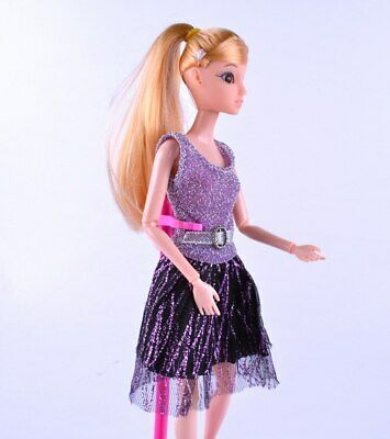 Casual Doll Clothes One Piece Patchwork Purple Glitter Short Dress For 1/6 Doll 3