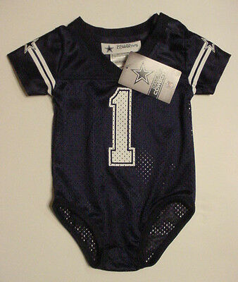 best service 5e128 788ac NWT DALLAS COWBOYS #1 Baby Jersey Onepiece Creeper Newborn Infant Sz 3 6 9  12 Mo