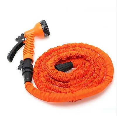 Latex 25 50 75 100 FT Expanding Flexible Garden Water Hose with Spray Nozzle 9