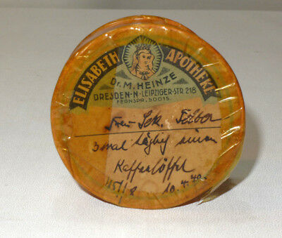 alte Medizindose, Apothekenschachtel 1940 ELISABETH APOTHEKE Dresden 2763 2