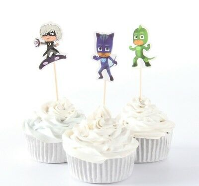 Pj Masks Cupcake Toppers Picks Birthday Party Supplies Favours 3