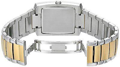 Bulova Classic Men's 98A149 Quartz Rectangle Case Black Dial Two-Tone 35mm Watch 3