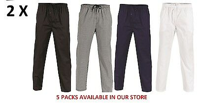 2 X Polyester Cotton Drawstring Chef Pants- DNC Workwear 1501 2