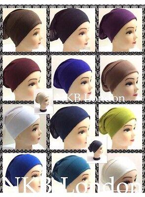 Women Ladies  Under Scarf Hijab Tube Bone  Bonnet Cap MANY Colours Stretchable