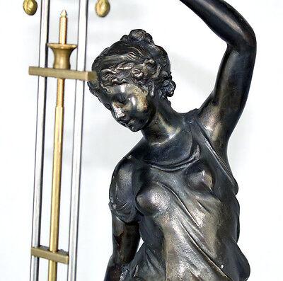 Beautiful Ansonia Cut 8 Day Movement Brass Huntress Lady Mystery Swinger Clock 7