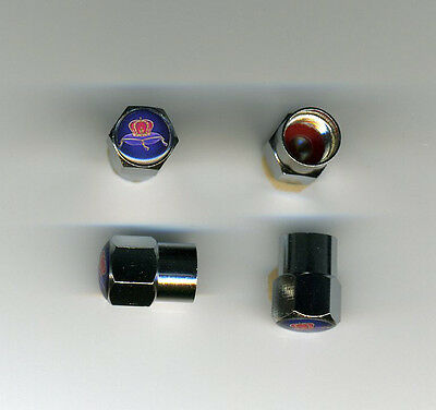 Crown Royal 4 Chrome Plated Brass Tire Valve Caps Car/Bike/GolfCarts Crown Royal