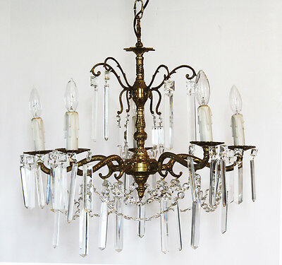 Antique Crystal & Brass Chandelier Rectagular Prisms Gorgeous