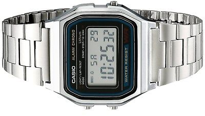 Casio Men's Quartz Digital Chorno Silver-Tone Bracelet Watch A158W-1 2