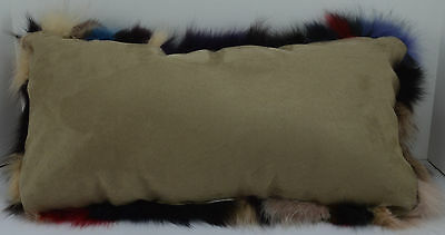 Fox Sections Fur Pillow New made in usa Real Multi colored authentic fur cushion