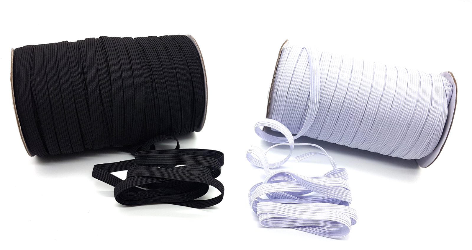 Flat Elastic Cord Sewing Black White 6mm 12mm 3