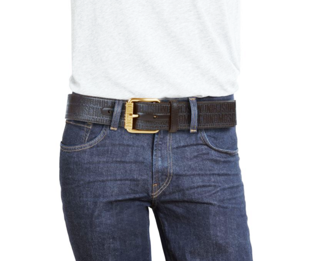 e64ae400079 Moschino Men's Printed Logo Textured Leather Belt, Green/Muliti-Color, MSRP  $295 12 12 of 12 See More