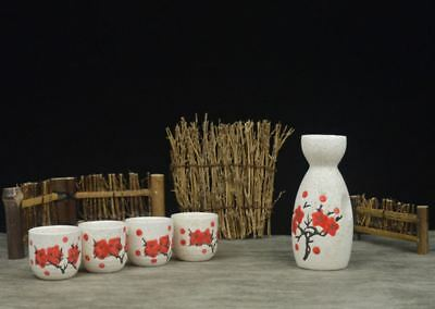 Japanese Traditional Sakura Patterned 5 Piece Sake Set 1 Bottle 4 Cups Gift Box 7