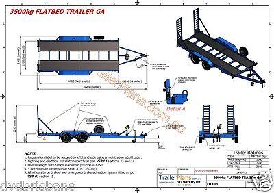 Trailer Plans- 3500KG FLATBED CAR TRAILER PLANS- 4800x1760mm- PRINTED HARDCOPY 7