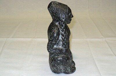 "Dark Stone Statue of a North American Handmade in Canada  7"" high 100% Original 7"
