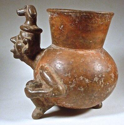 Pre-Columbian MIXTEC FIGURAL JAR W/DOG HEAD HEADDRESS COA 5