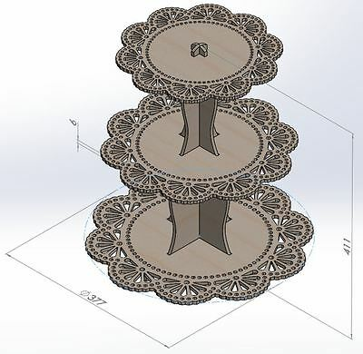 TOWER FOR CUPCAKE DXF Files Vectors 2D MDF CNC Router Laser Plans ArtCAM  VCarve