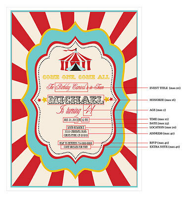 Circus Carnival PERSONALIZED Birthday Party Invitations