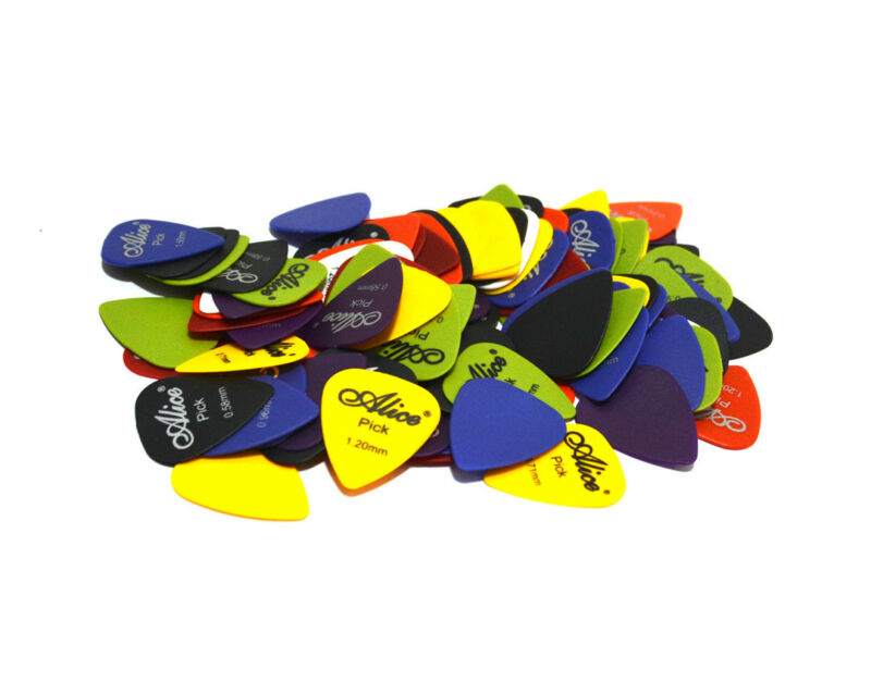 100x ALICE Guitar Picks Bulk Coloured Celluloid Plectrums Standard Mixed Gauges 7