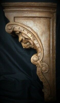 Pair Narrow Lion Face Scroll Corbel Brackets Architectural Accent Wood Stained 5