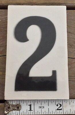 Antique Number 2 Tile Curtis Development & MFG. CO. House Address 2.45X3.45 Inch 2