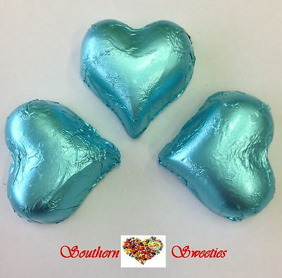 1Kg Baby Blue Foiled Hearts Milk Chocolate Choc Blue Lollies Bulk Candy Buffet