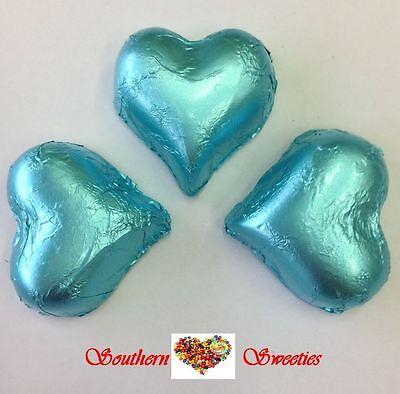 1Kg Baby Blue Foiled Hearts Milk Chocolate Choc Blue Lollies Bulk Candy Buffet 2