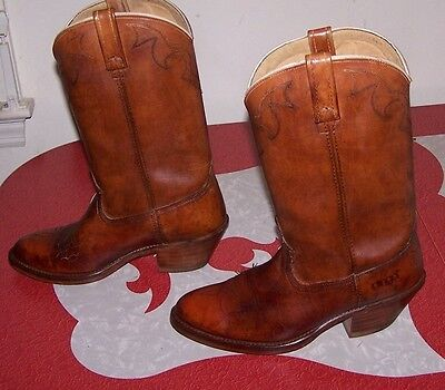 9cac880663c VINTAGE DINGO DISTRESSED MEN'S COWBOY BOOTS 70s 80s BROWN SIZE 8D - MADE IN  USA