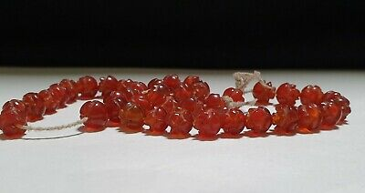Strand of 39 x Egyptian Red Carnelian Rosettes Amulets 4