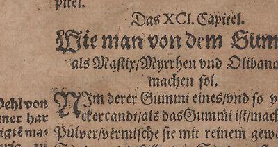 Gummi Mastix ÖL Apotheker Orig Textblatt um 1620  Medizin Arzt Balsam Rosenöl 5