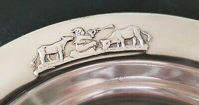 Astri Holthe baby child deep plate boy & cows silver plate 40g Norway vintage 2