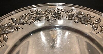 Big S. Kirk & Son Hand Decorated Sterling Silver Sandwich Plate 2