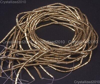 Hematite Gemstone 2mm x 4mm Tube Beads 16'' Metallic Silver Gold Blue Purple 10