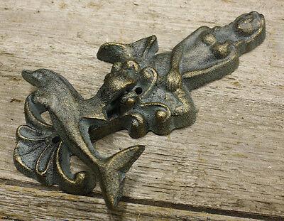 Cast Iron Antique Style Nautical MERMAID / DOLPHIN Door Knocker Green Finish 3